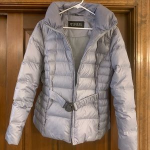 Guess Brand, large light gray jacket with belt.